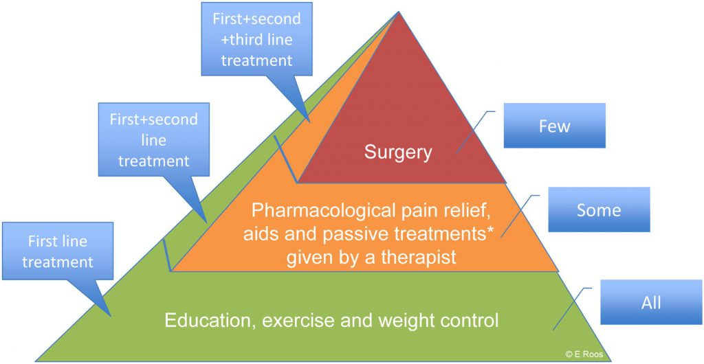 He Oa Treatment Pyramid. Oa Of The Hip And Knee Is Best Managed Using Education, Exercise And Weight Control With The Addition Of Pharmacological And Surgical Interventions When Needed. All Patients Should Be Offered First Line Treatment, While Some Will Need Second Line Treatment And Few Will Need Third Line Treatment. *passive Treatments Include Manual Therapy, Acupuncture, And Other Treatments Given By A Therapist And Not Requiring An Active Lifestyle Change By The Patient [roos & Juhl 2012]